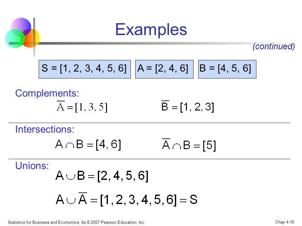 Examples S = [1, 2, 3, 4, 5, 6] A = [2, 4, 6] B = [4, 5, 6]